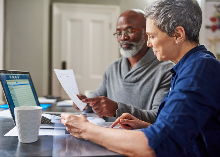 Middle-aged couple creating a retirement savings plan