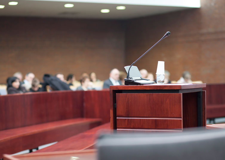 Microphone at courthouse to be used by an expert witness